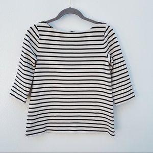 Ann Taylor Loft striped sweater black cream small